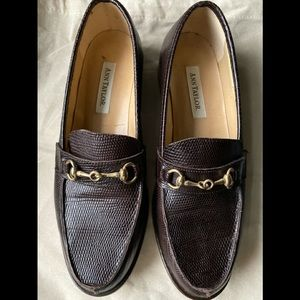 Ann Taylor Croc Embossed Brown Loafer